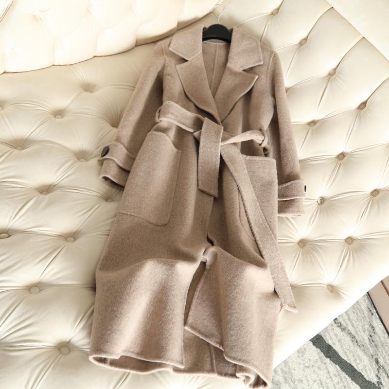 QIAN SI CHEN 2019 Autumn New 100% Cashmere Coat Alpaca Warm Winter Coat Women Long Wool Coat Office Lady Slim Female Overcoat