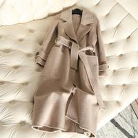 QIAN SI CHEN 2019 Autumn New 100% Cashmere Coat Alpaca Anti Season Coat Women Long Wool Coat Office Lady Slim Female Overcoat