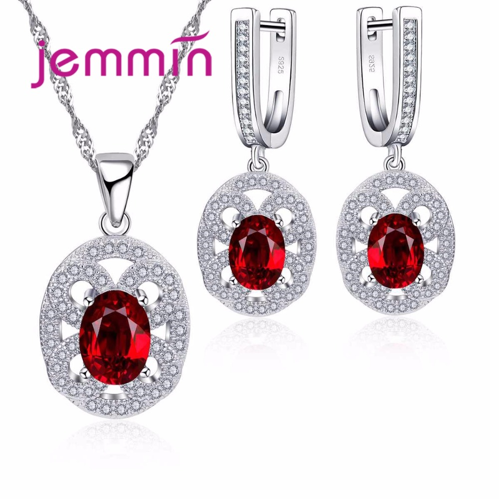 Jemmin New Fine Wedding Jewelry Sets For Brides Woman 925 Sterling Silver Rhinestone Necklace Earrings Engagement Jewellery Set