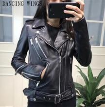 Real Leather Jacket Women Black Sheepskin Motorcycle Jacket Casual Zipper Slim Ladies Genuine Leather Jacket