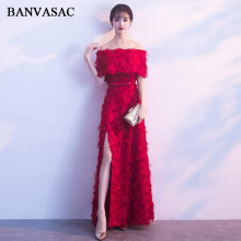 BANVASAC 2018 Feathers Boat Neck Lace Split A Line Long Evening Dresses Vintage Half Sleeve Bow Sash Party Prom Gowns