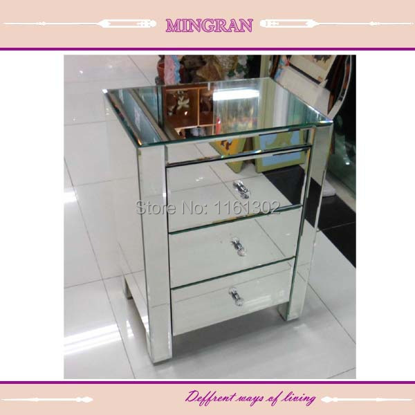 MR 401002 Beveled Edged Mirrored Night Stand/ Side Table/tall Boy Mirrored  Furniture