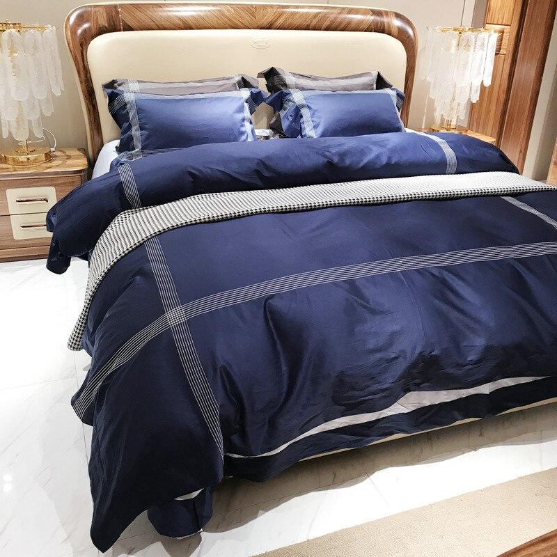 Шелк вышитые сплошной Цвет 100 S из египетского хлопка роскошные Постельное белье 4 шт. King queen Размеры простыня набор пододеяльник наволочки