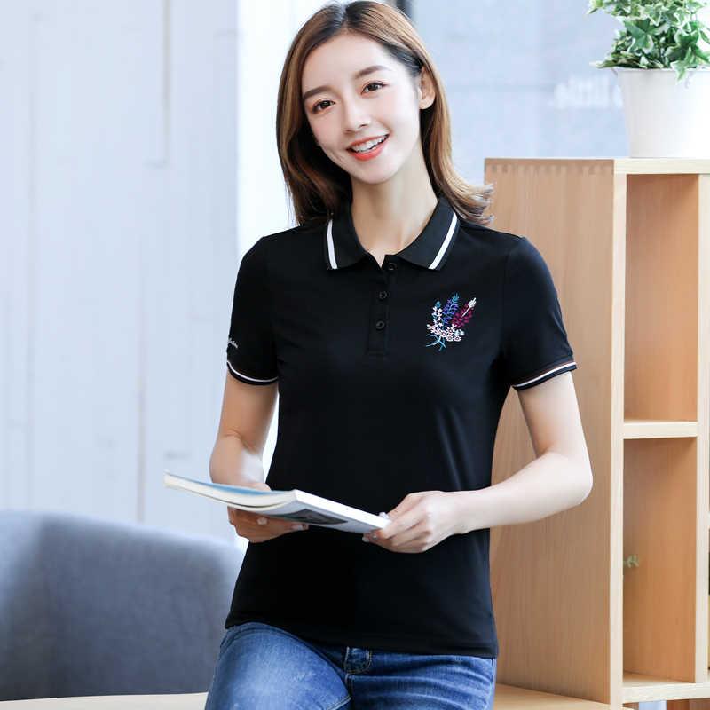 Baharcelin 夏刺繍ポロシャツトップス女性ガールターンダウン襟半袖の女性スポーツカジュアルポロシャツトップ服