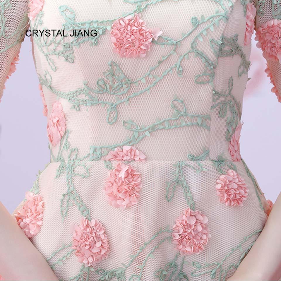 CRYSTAL JIANG 2018 Van de schouder 3D Bloemen Natuurlijke Taille Voor - Bruiloft feestjurken - Foto 5