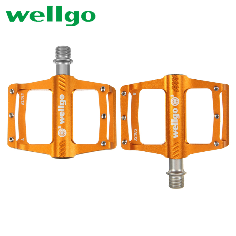 Original WELLGO KC015 lightweight Aluminum CNC MTB Bike Pedals Mountain Bicycle Ultralight Bearing Pedal Cycling Bicycle Parts taiwan wellgo bearing mtb bicycle pedals c280 city bike self lock pedals