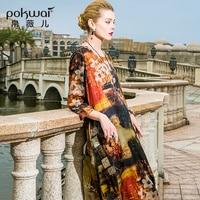 POKWAI Vintage Long Summer Silk Dress Women 2018 New Arrival High Quality Fashion Three Quarter Sleeve O Neck Loose Dresses