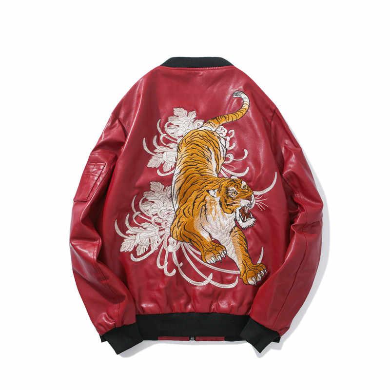 Otoño para hombre chaqueta de cuero Sukajan japonés bordado bestia Tigre Bomber Chaqueta Hombre PU imitación cuero Outwear