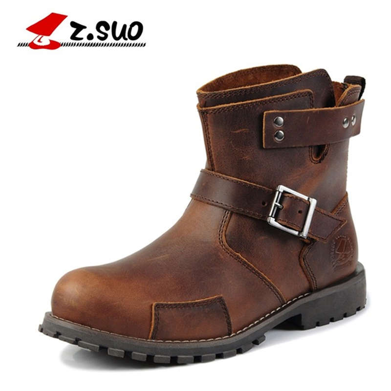 Z. Suo Men Boots Mouthpiece Buckle Casual Fashion Men Boots Vintage Leather Western Boots for Men Botas Sub Man Zsx122 цены онлайн
