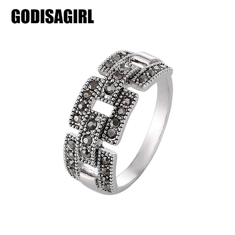 Best Selling Fashion Jewelry Silver Plated Black Cubic Zircon Vintage Retro Ring Women New Arrival