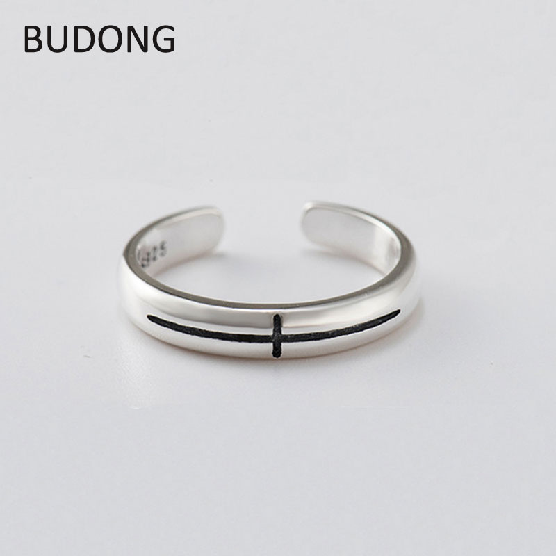 BUDONG Genuine 925 Sterling Silver Open Adjustable Ring Cross Shape Elegance Finger Rings for Women Fine Party Jewelry LHRT0152