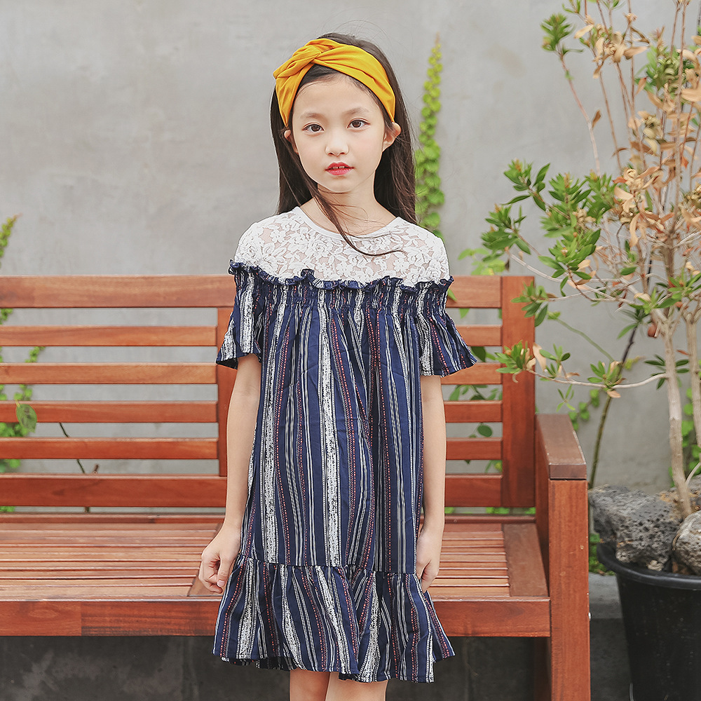 Kids Girl Blue Stripe Dresses 2018 Summer Teenagers -3109