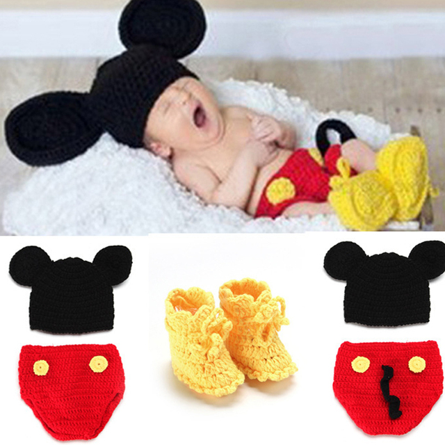 Photography Props Children Outfits Newborn Baby Mickey Mouse Crochet Beanie  Hat   Diaper Cover with Shoes Skirt 3b3b86bc812