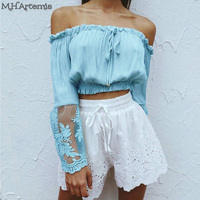 M H Artemis Sexy Off The Shoulder Lace White Blouse Shirt Women Boho Chic Top High