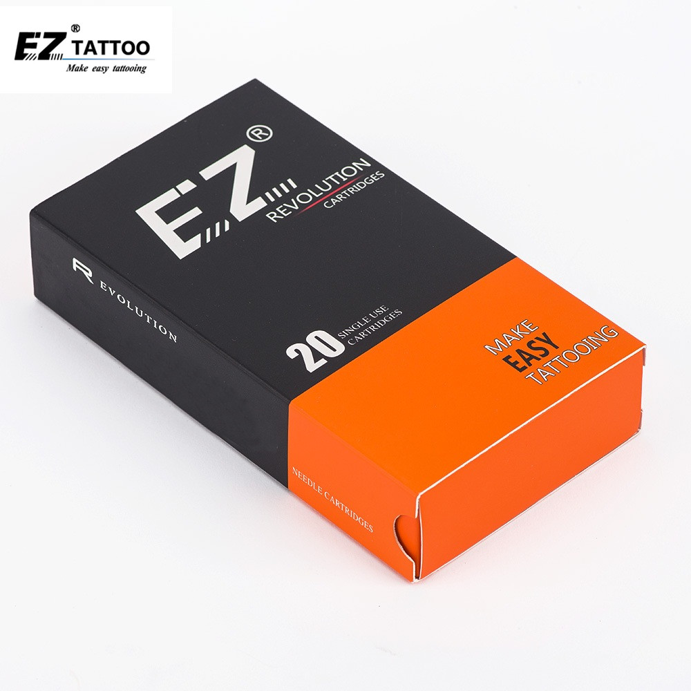 EZ Revolution Tattoo Needles Cartridge Round Shaders#12 0.35mm Long Taper 5.5mm For Cartridge Machine And Grips 20 Pcs /box