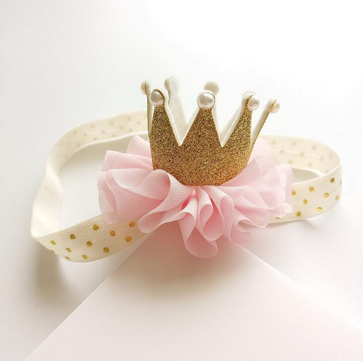 Newborn toddlers flower ribbon bow Crown Headband kids girl Hair Band New Head Wrap Hair Accessories Princess Tiara Headband D8 3inch girl hair band ribbon bow flower bowknot headband new born elastic hairband wear children newborn kids hair accessories