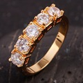 Fashion Brand New Jewelry Lady's Dazzling White Stone Yellow Gold Filled Wedding Ring Gift Size 6 7 8 9 10