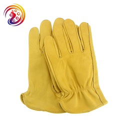 New Work Drivers Gloves Gardening Motorcycle Household Work Cowhide Leather Safety Working Glove Men&Women HY008 by Olson Deepak