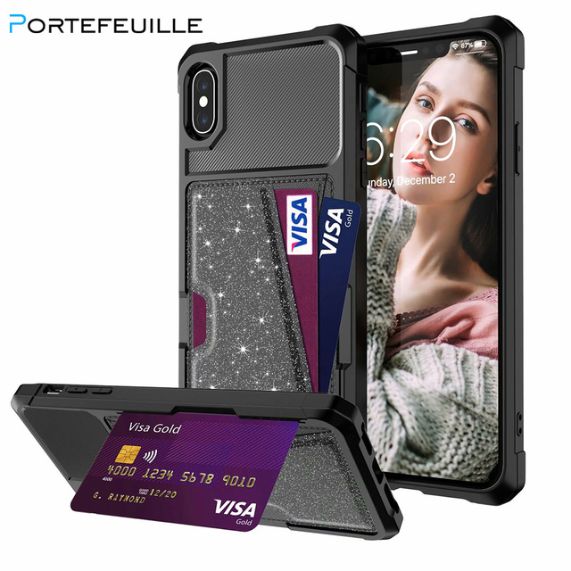 sale retailer 48055 53927 US $4.65 19% OFF|Portefeuille 360 case for iphone 8 7 6 6s plus Cover Car  Magnet Credit Card kickstand Slots Glitter Cover for iphone XS MAX XR X-in  ...
