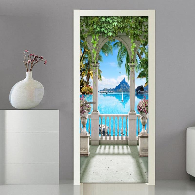 Balcony Landscape 3D Photo Mural Wallpaper For Living Room Bedroom Door Sticker PVC Self Adhesive Waterproof Wall Paper Modern