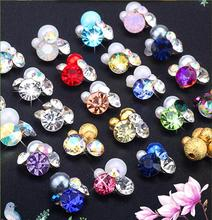 50Pcs 3D Glitter Pearl/Rhinestones Flowers For Nail Charms Alloy Art Decoration DIY Manicure Accessorie, Mixed