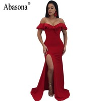 Abasona Evening Party Dresses Women Long Maxi Dress Black Red Blue Boydcon High Split Off Shoulder