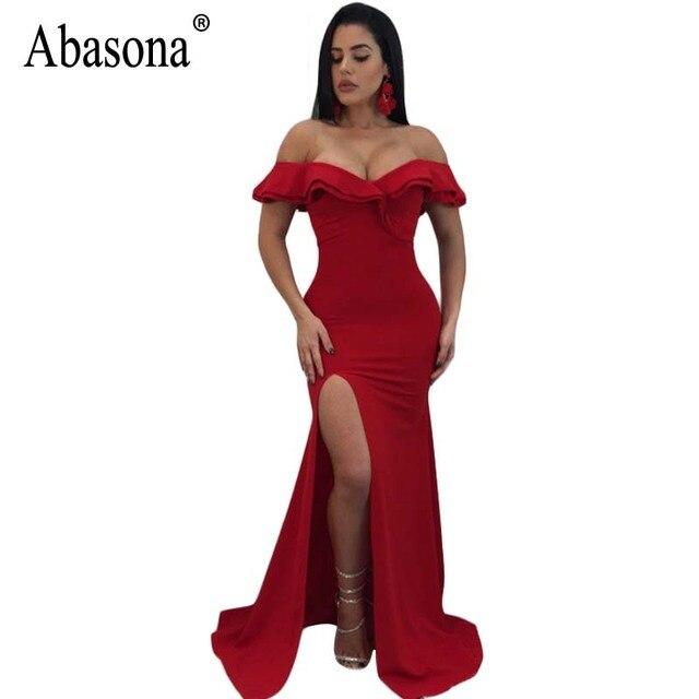 Abasona Evening Party Dresses Women Long Maxi Dress Black Red Blue Boydcon  High Split Off Shoulder Ruffles Women Dress Summer 99d00b2d3341