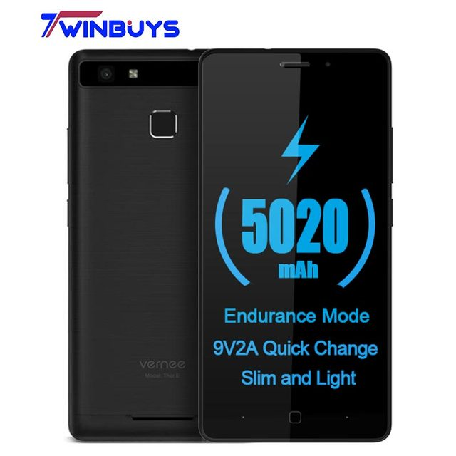 "Vernee Thor E 5"" HD 4G LTE Mobile Phone MTK6753 Octa-Core Android 7.0 Cell Phones 3G RAM 16G ROM 5020 mAh Fingerprint Smartphone"