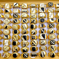 New Wholesale chic Jewelry Mixed Lots 30Pcs Men's Gold Plated Rhinestone Finger Rings with black stone
