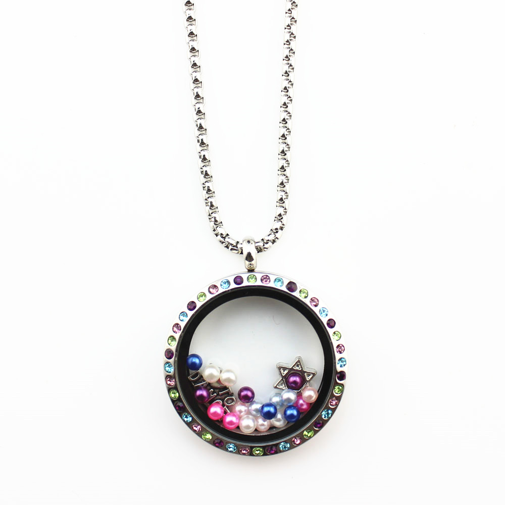 10Pcs/lot 30mm Multi Color Crystal Floating Locket Screw Waterproof Locket Floating Charms Memory Locket For Women Jewelry
