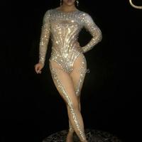 Glisten Crystals Sexy Rompers Costume Bling Jumpsuit Women S Outfit Diamonds Bodysuit Birthday Celebrate Wear Female