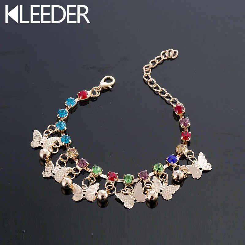 KLEEDER ใหม่ Butterfly Charm สร้อยข้อมือสำหรับสาวเด็ก Hand Link Chain คริสตัลผู้หญิงชายหาดสร้อยข้อมืองานแต่งงานของขวัญ