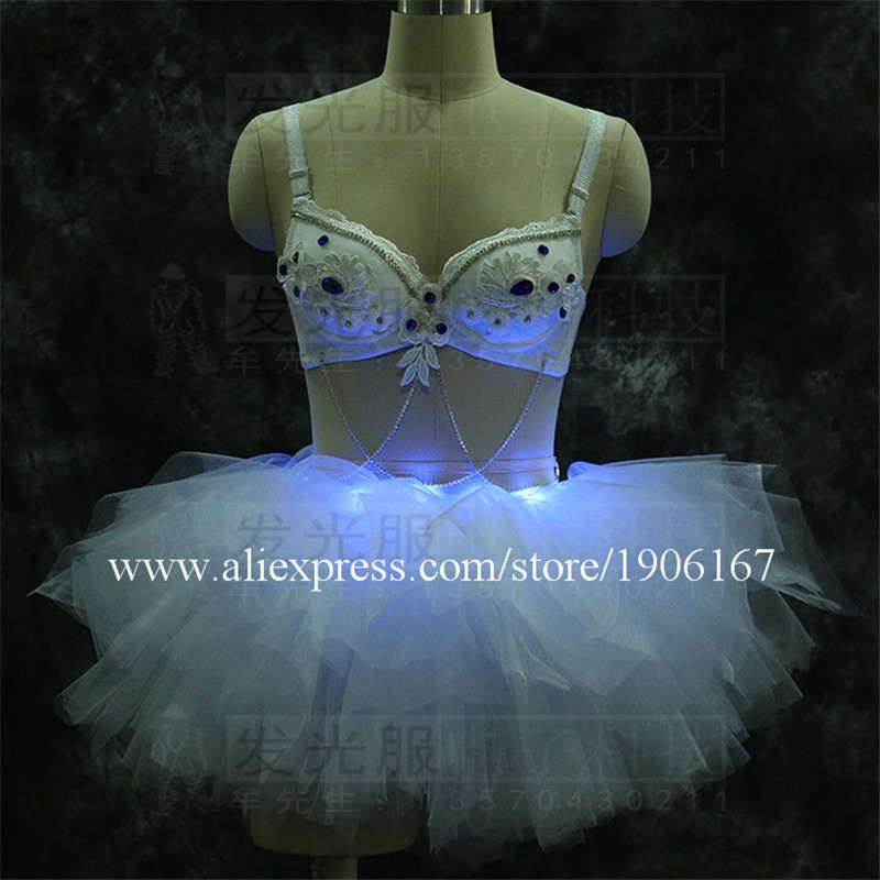 Free Shipping White color Led Ballet Party Dress Stage Performance Costume Led Festival Event Sexy Lady Led Light Clothes