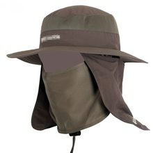 купить Unisex Fisherman Mesh Bucket Hat Men Wide Brim Round Edges Camping Sun Hats Women Hiking Neck Flap Cap Mosquitos Protection онлайн