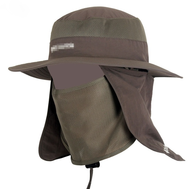 df2a0579bf4 Unisex Fisherman Mesh Bucket Hat Men Wide Brim Round Camping Sun Hats Women  Hiking Neck Flap Cap Mosquitos Protection A1