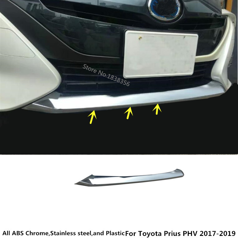 For Toyota Prius PHV 2017 2018 2019 car Styling stick protection Bumper ABS Chrome trim front head bottom moulding hood part 1pc lacywear s 21 phv