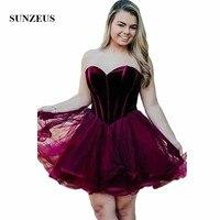 Бордовые бархатные мини платья для возвращения на родину, короткие, милая, винно красная Тюлевая юбка, милые выпускные платья, vestido tule SHD04