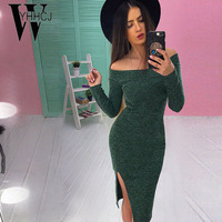 WYHHCJ 2017 New Sexy Off Shoulder Women Dress Slash Neck Long Sleeve Bodycon Winter Dress Sides