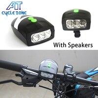 Cykl Strefa Super Jasne Wodoodporna Light Bike 3 Róg Rowerów Elektroniczny Dzwon Jazda Na Rowerze Przednia Head Light Lampa LED z Głośnikiem