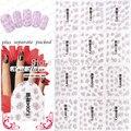 2015 NUEVO 90 Unids/lote TJ001-024Pink SilverStylish Calcomanía 3D etiqueta engomada del clavo de fototerapia uñas gancho flor Rosa de plata caliente