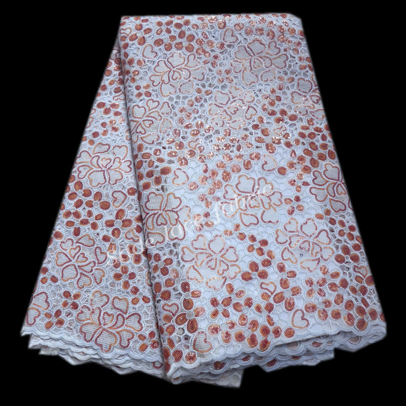high quality swiss lace fabric with sequins Latest African French organza Lace Fabric Nigerian Tulle Lace