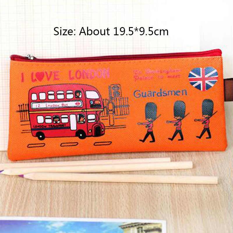 1 PCS أقلام برسومات كرتونية حقيبة لندن أكسفورد القماش سستة حقيبة القرطاسية طالب مقلمة التجميل حقيبة محفظة مكتب واللوازم المدرسية