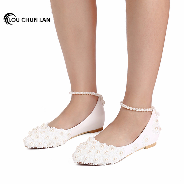 Women Shoes Adult Flats Wedding Shoes White Bridesmaid Shoes Pearl Bangle Beaded Shoes Free Shipping large size 41-52