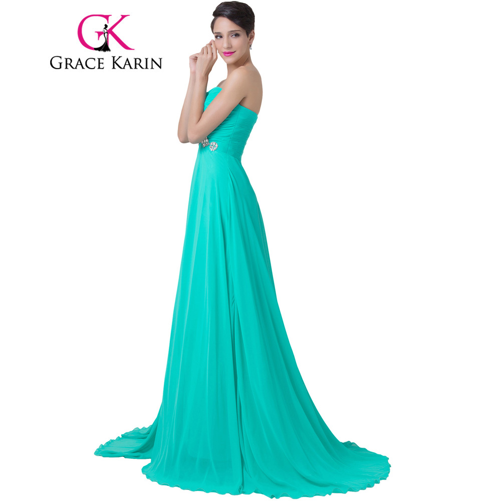 7a3dcd11a193 Grace Karin Turquoise Evening Dress Strapless Long Chiffon Floor Length  Formal Gown Wedding Party Beading Elegant Evening Gowns-in Evening Dresses  from ...