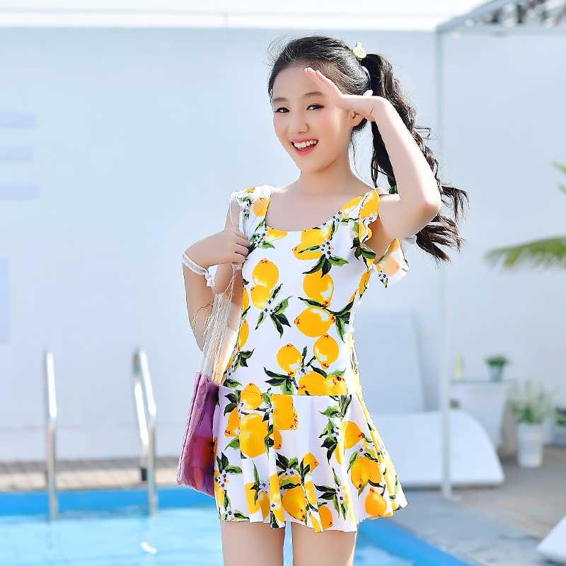 Nuevo una pieza de baño Grils dulce falda Swimdress niños traje de baño Floral beach dress traje de baño rojo azul blanco vestido