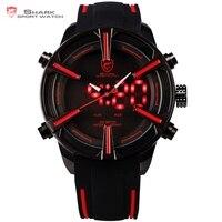 Dogfish SHARK Reloj Deportivo Negro Rojo Dial Banda de Silicona LED Auto Fecha Día Alarma Movimiento de Cuarzo Militar Ejército Reloj Digital para Hombre / SH384