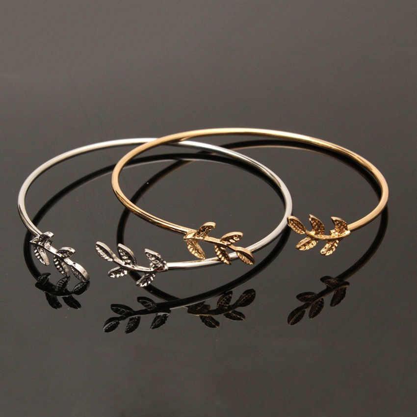 Новинка 2019, женские браслеты-манжеты из сплава с открывающимися листьями, браслеты золотого и серебряного цвета, Женские Ювелирные изделия
