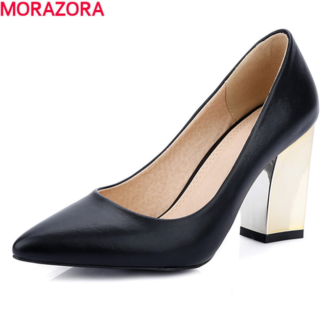 hot sale 2016 summer fashion high quality pu leather women pumps thick high heels pointed toe solid white shoes woman
