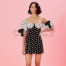 Cuerly Women sexy Off shoulder Runway short Dress Sexy Backless Puff Sleeve sweetheart print Mini Female Holiday Party Dresses