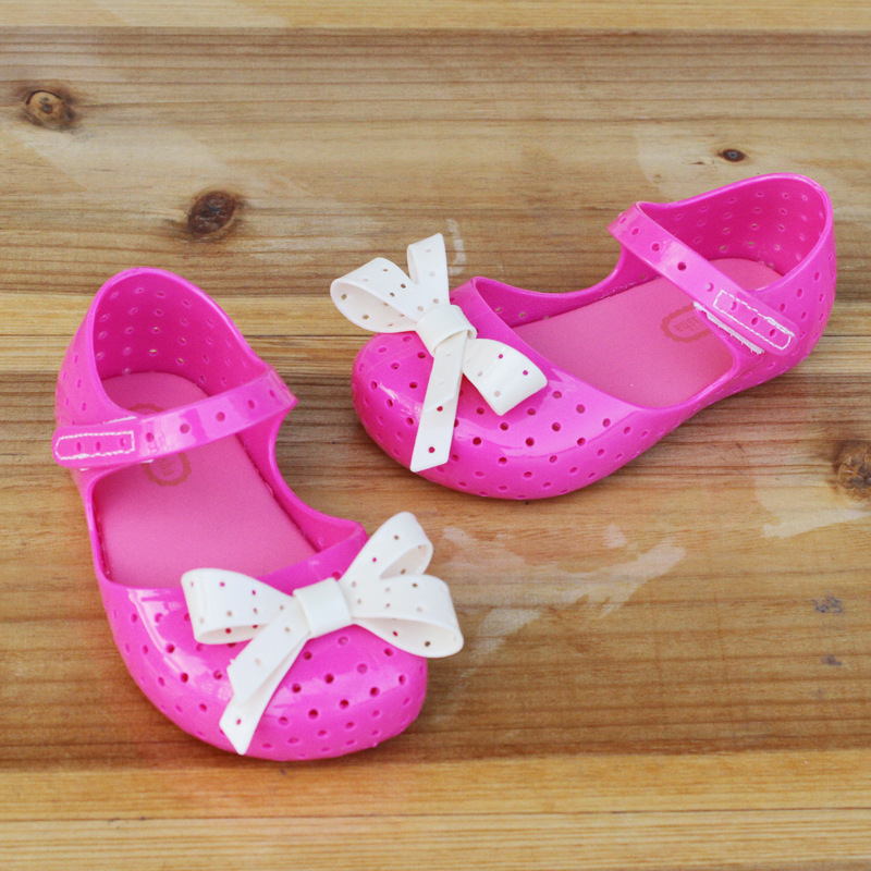 Mini Melissa Original Girl Jelly Sandals Bow 14.5-17cm Children Shoes Baby Princess Sandals Girl Shoes For Children High Quality